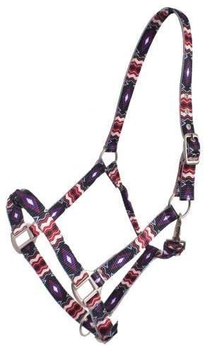 Showman Premium Nylon Horse Halter w/Black, Purple & Red Diamond Design! New Horse TACK!