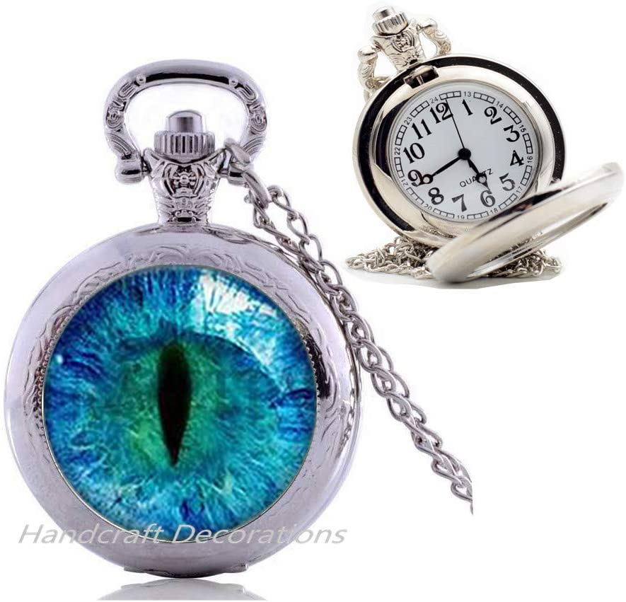 HandcraftDecorations Blue Cats Eye Pocket Watch Necklace-Eye Pendant-Picture Jewelry Gifts for Women,Handmade Gift,Gifts for Her,Women's Pocket Watch Necklace.F171