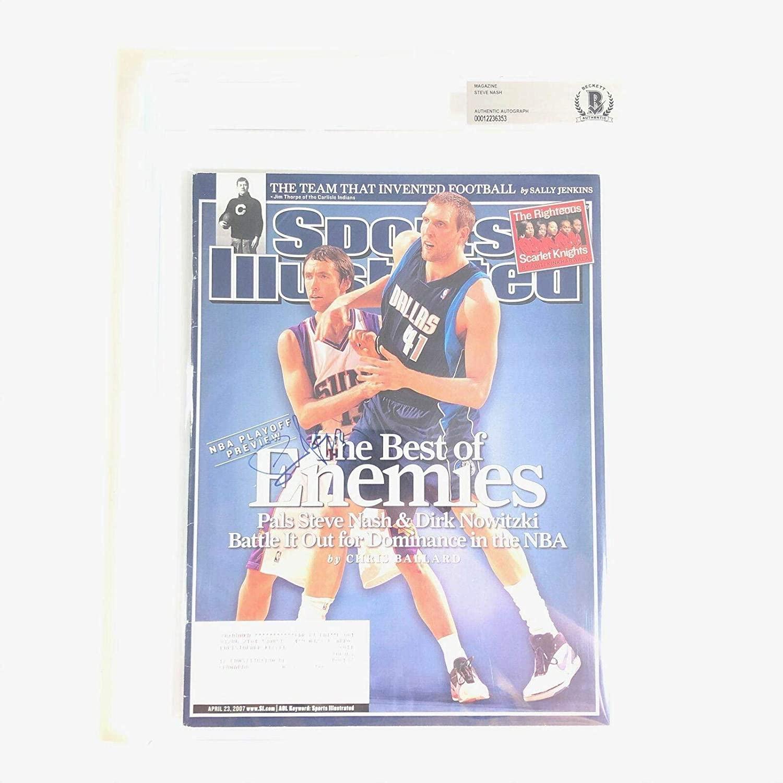 Steve Nash Signed SI Magazine BAS Beckett Phoenix Suns Autographed Slabbed - Beckett Authentication - Autographed NBA Magazines