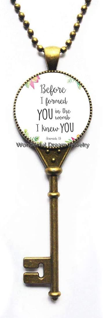 Waozshangu Before I Formed You in The Womb I Knew You Nursery Verse Key Necklace Jeremiah 1:5 Glass Tile Pendant Fashion Jewelry,PU366