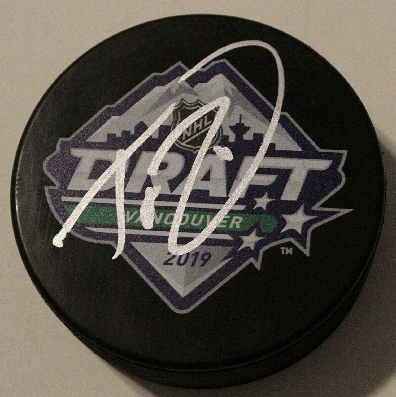 Trevor Zegras Autographed Puck - 2019 NHL Draft W COA - Autographed NHL Pucks