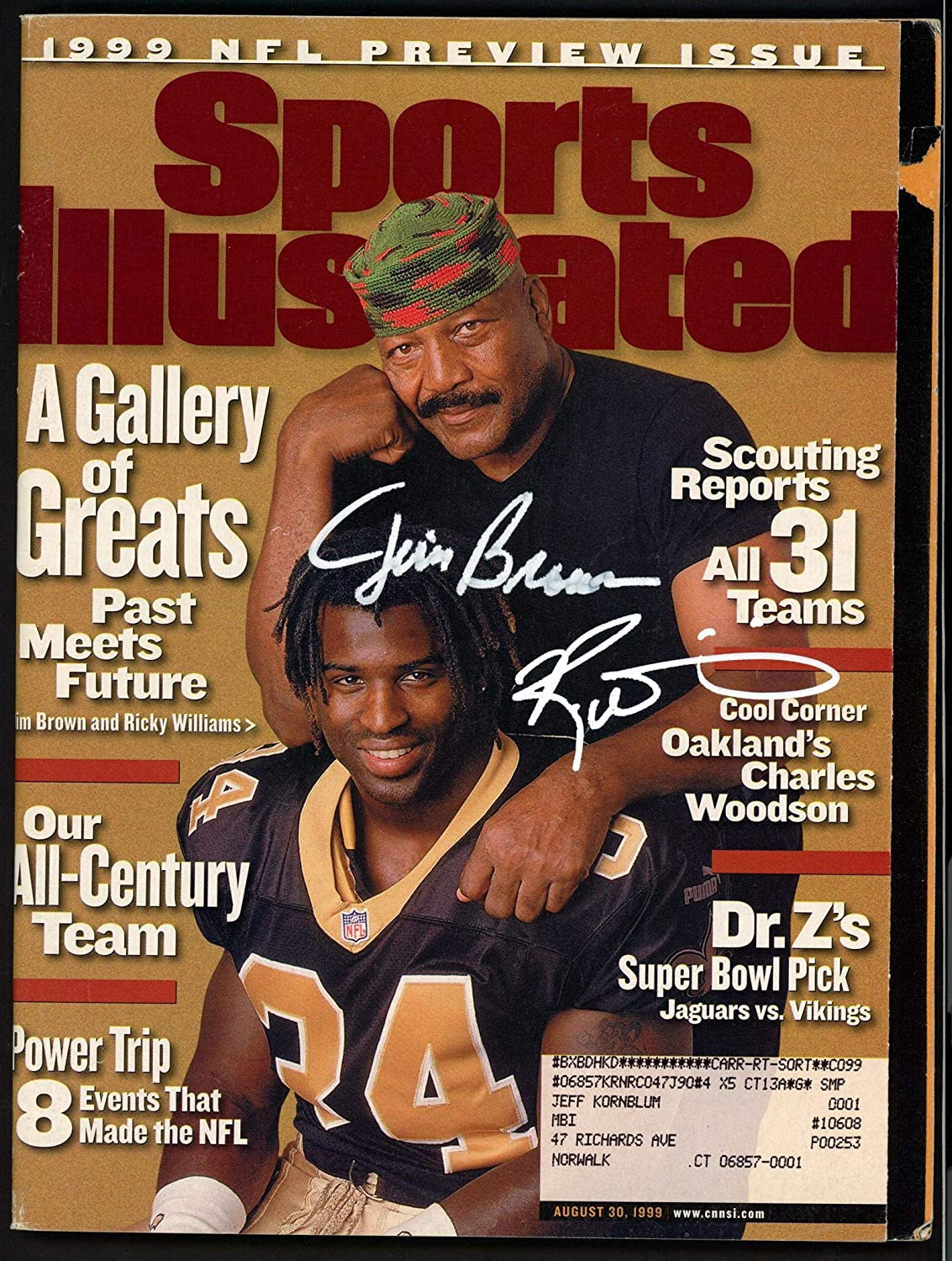 Jim Brown & Ricky Williams Autographed Sports Illustrated Magazine Beckett BAS #A28305 - Beckett Authentication
