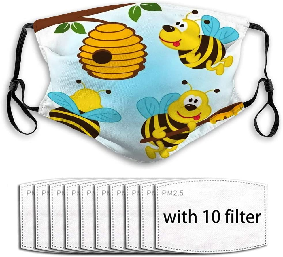 YILINGER Unsex Activated Carbon Mask Scarf (10 Filter) Bees Flying Around Hive
