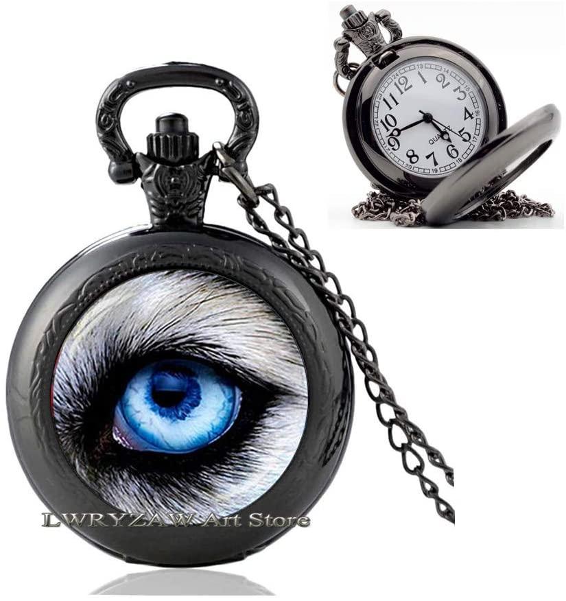 Wolf Eye Pocket Watch Necklace,Wolf Eye Jewelry Pocket Watch Necklace Wearable Art Pendant Charm Wolf Pendant Charm,Animal Pocket Watch Necklace,M175