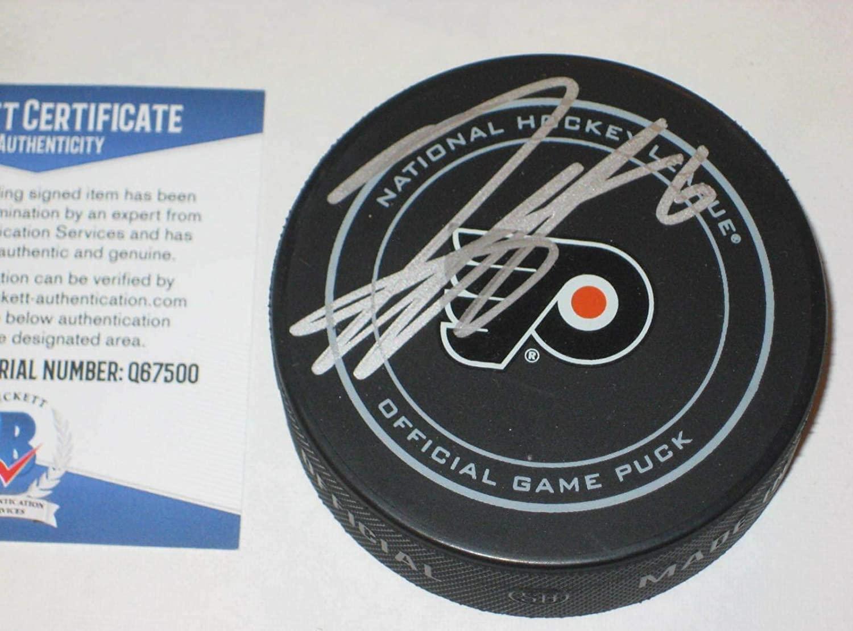 Travis Sanheim Autographed Puck - Official w Beckett COA - Beckett Authentication - Autographed NHL Pucks