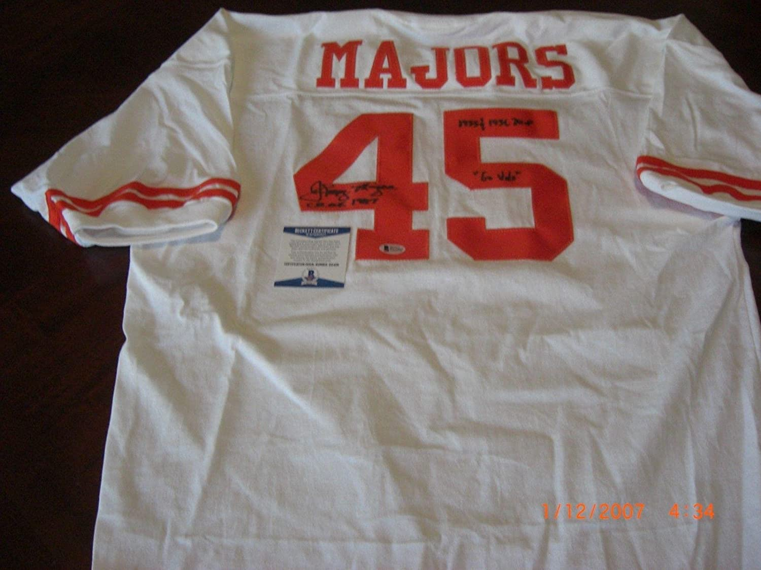 Johnny Majors Autographed Jersey - Tennessee Vols 1955 & 1956 Mvp chof 1987 W coa - Beckett Authentication