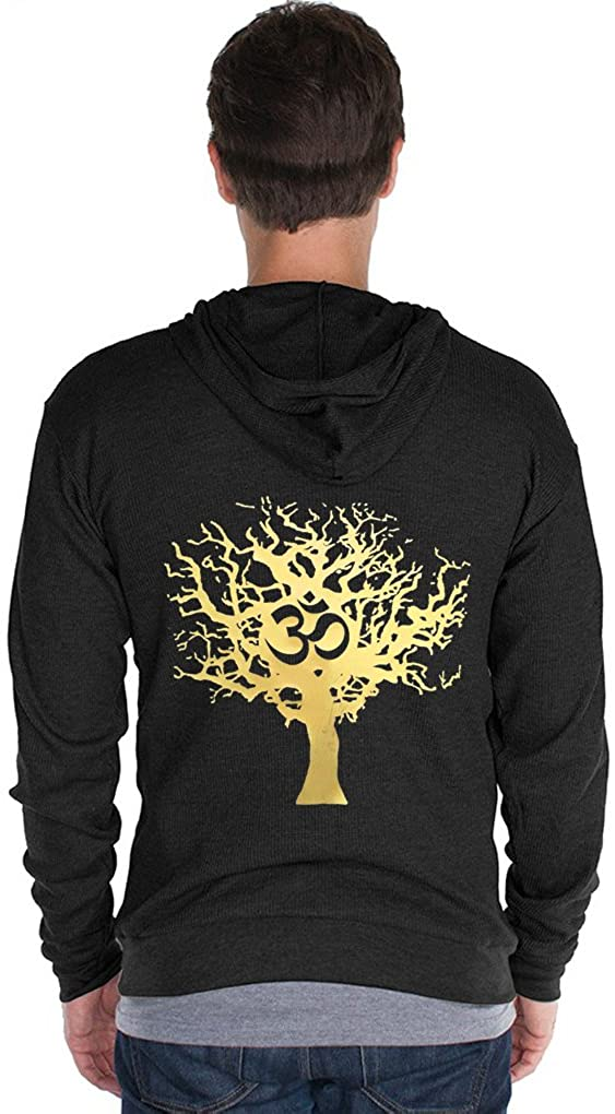 Yoga Clothing For You Mens Gold Tree of Life Thermal Zippered Hoodie