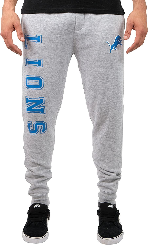 Ultra Game NFL Detroit Lions Mens Jogger Pants Active Basic Fleece Sweatpants, Heather Gray 18, Small