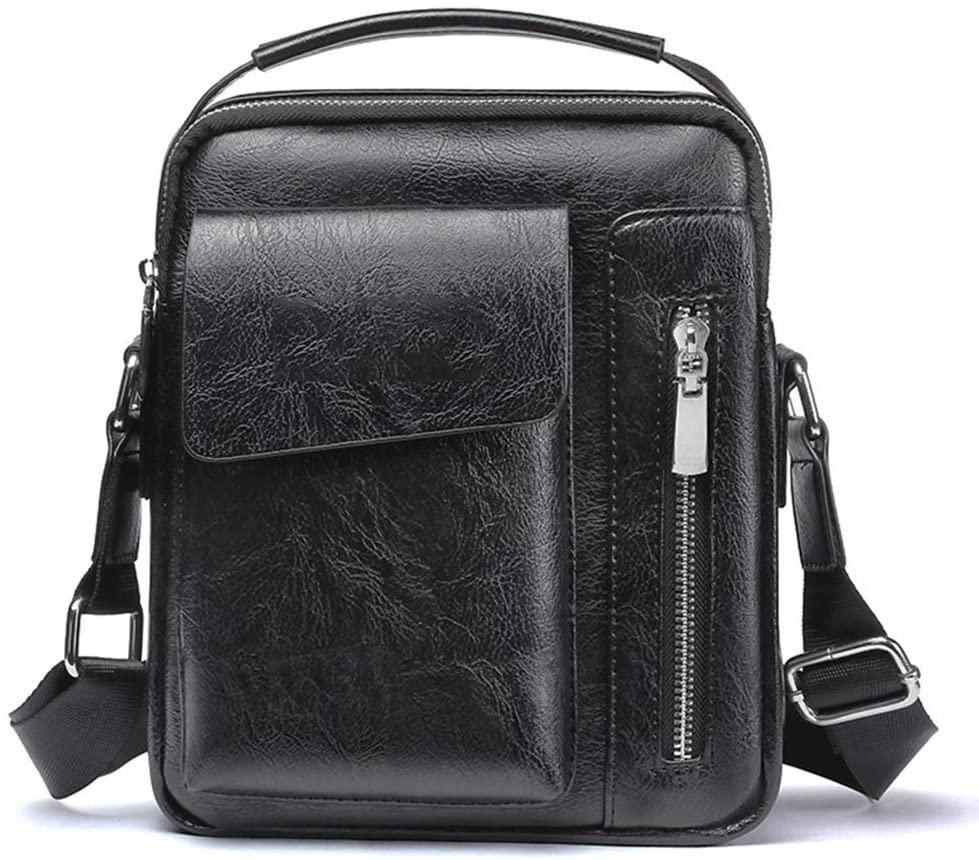 Maserfaliw Men's Handbags, Men Shoulder Bag,Vintage Faux Leather Zipper Men Shoulder Messenger Bag Crossbody Satchel Handbag - Black