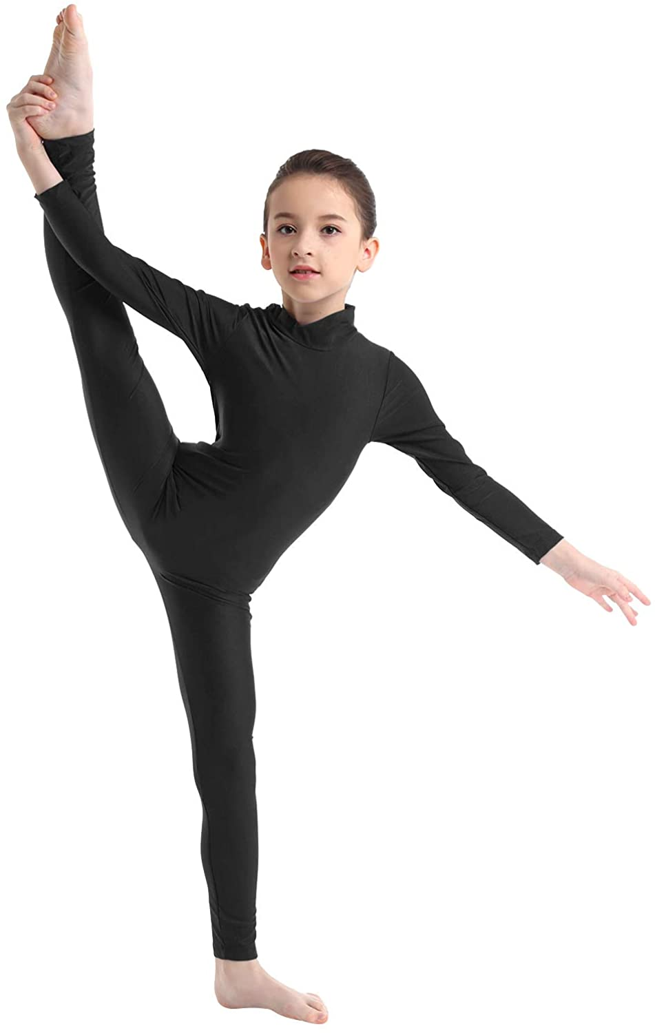 TiaoBug Girls Lycra Spandex Turtleneck Unitard Long Sleeve Full Body Catsuit Leotard Gymnastic Performances Costumes