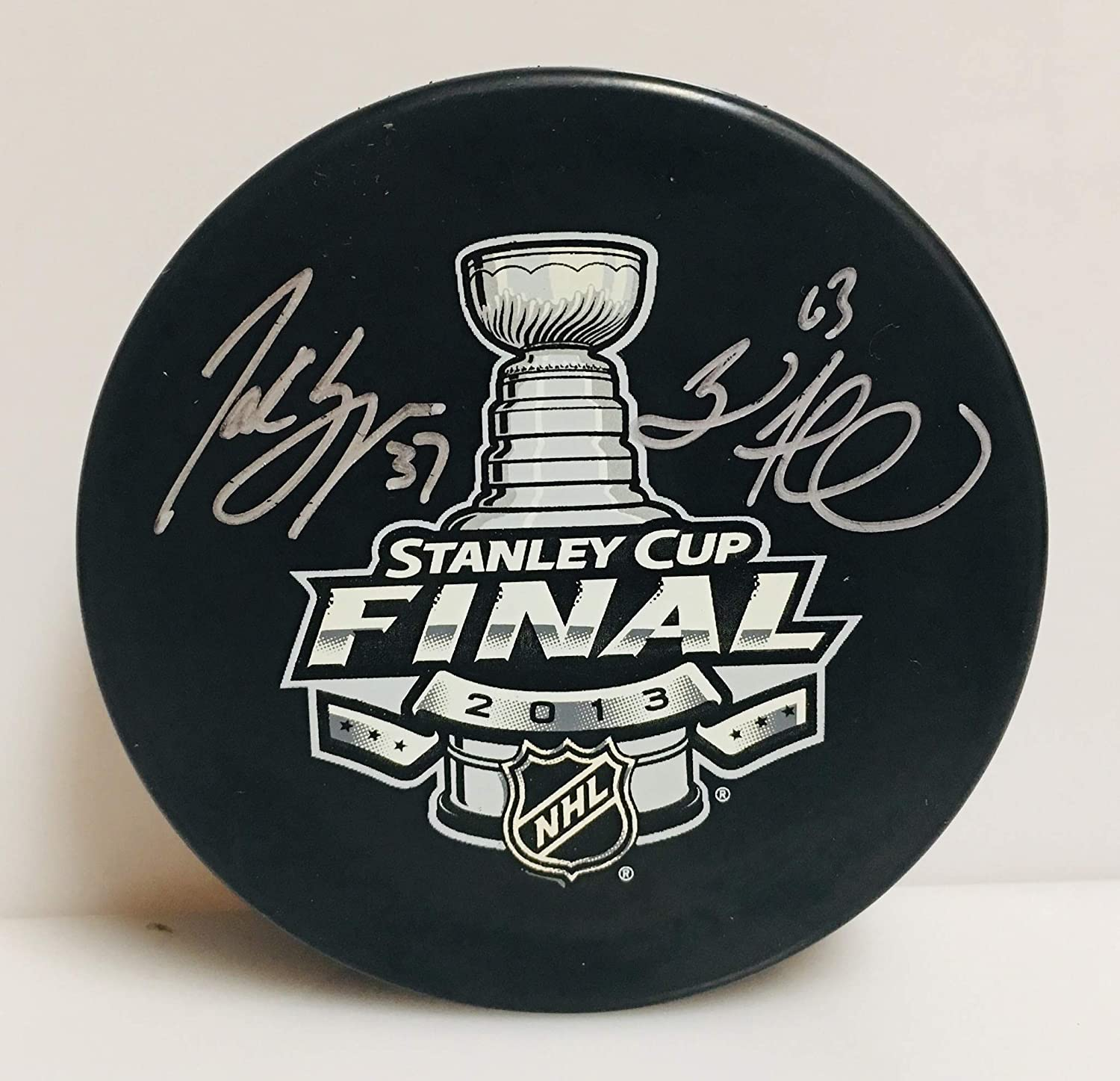 Patrice Bergeron Brad Marchand Boston Bruins Signed 2013 SC Final Hockey Puck