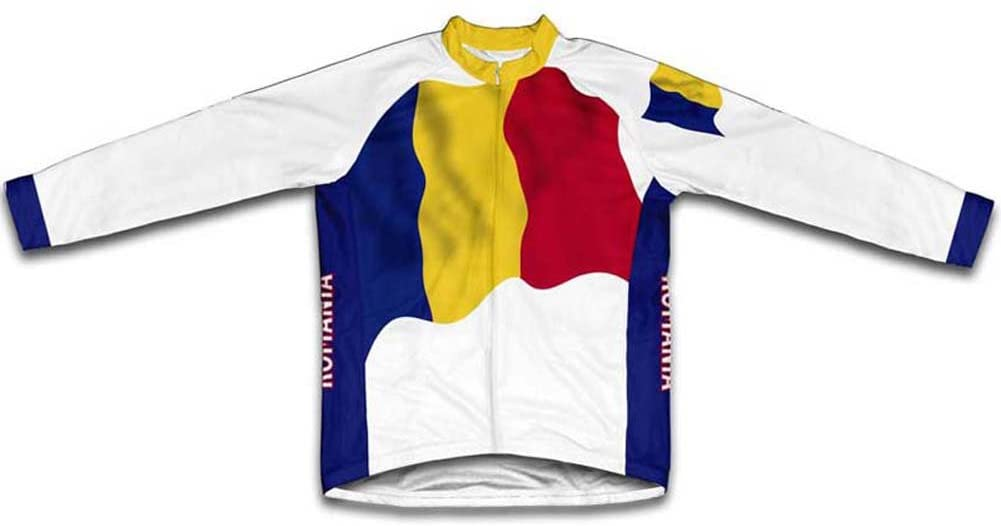 ScudoPro Romania Flag Winter Thermal Cycling Jersey for Men