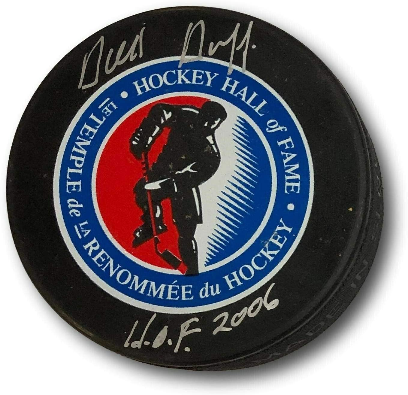 Dick Duff Signed Hockey Puck Autographed HOF Canadiens AG51051 b34 - PSA/DNA Certified - Autographed NHL Pucks
