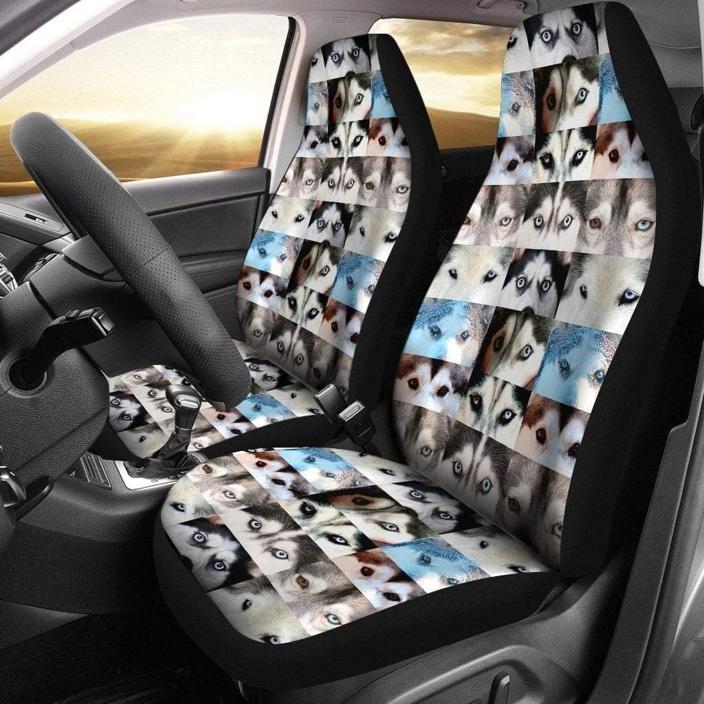 Paws With Attitude Siberian Husky Eyes Print Car Seat Covers