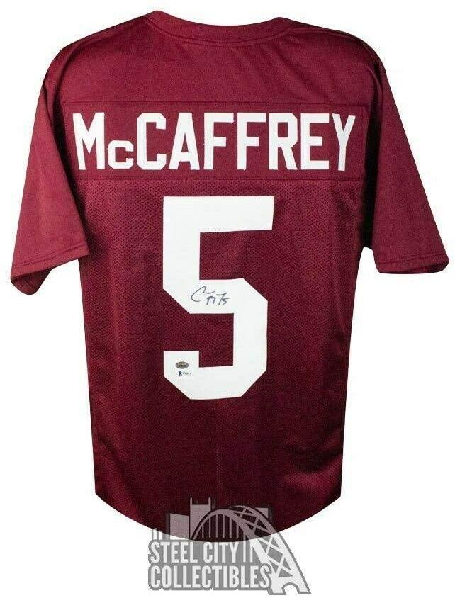 Christian McCaffrey Signed Jersey - Custom Football BAS COA - Beckett Authentication - Autographed College Jerseys