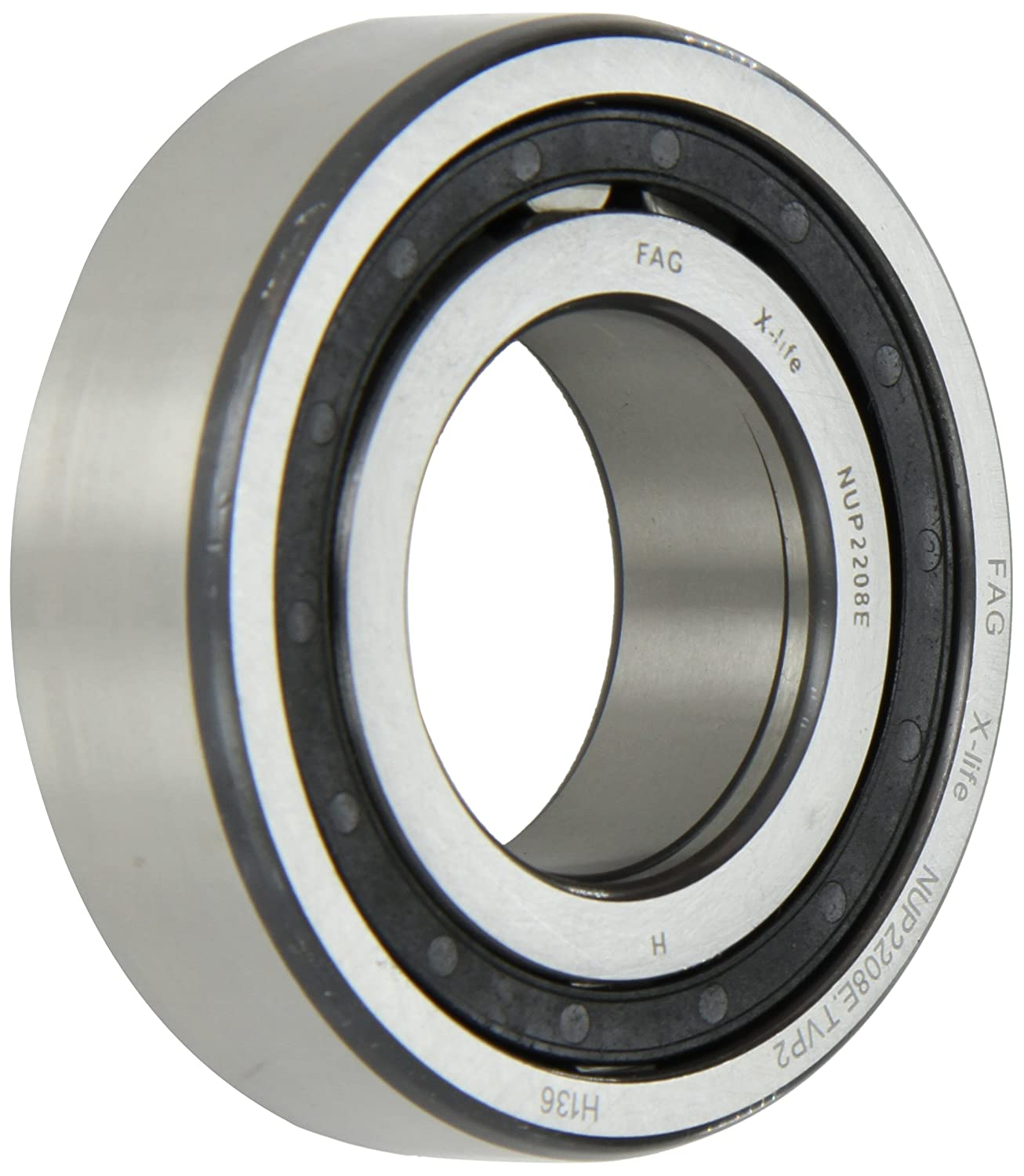 FAG NUP2208E-TVP2 Cylindrical Roller Bearing, Single Row, Straight Bore, Removable Inner Ring, Two Piece, High Capacity, Normal Clearance, Metric, 40mm ID, 80mm OD, 23mm Width