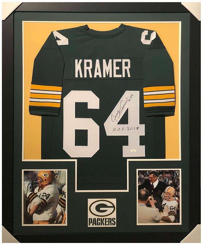 Signed Jerry Kramer Jersey - HOF 2018 Framed Vertical Layout Pro Edition JS - Autographed NFL Jerseys