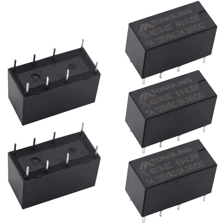 Tnisesm/5pcs Coil DPDT PCB Power Relay DC 5V 8 Pins Mini Power Relay PCB Relay 4078F-8P-5V-BK