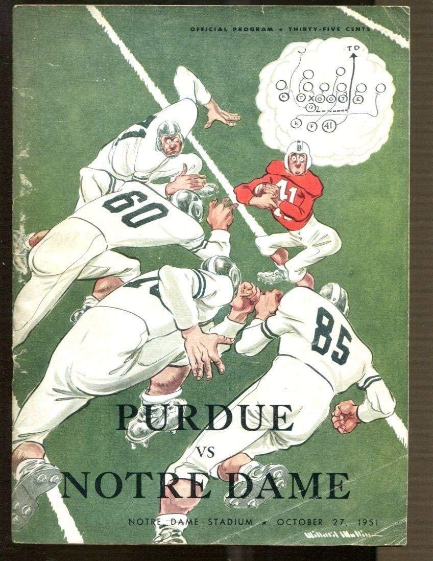 1951 Purdue v Notre Dame Football Program 10/27/51 Notre Dame Stadium VG/Ex - College Programs