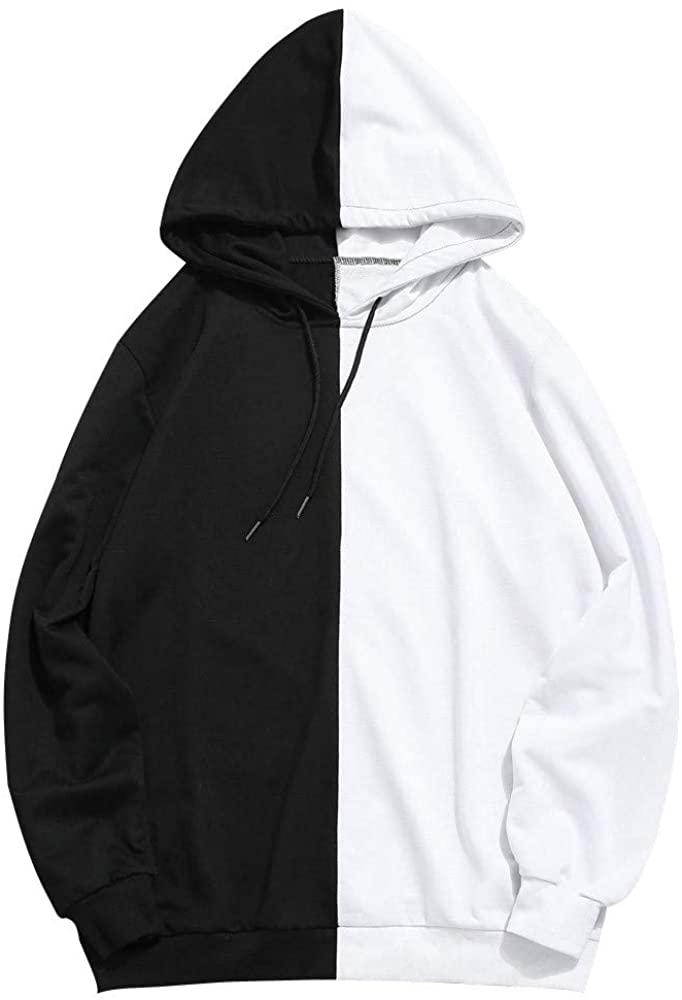 Balakie Mens Contrast Color Hoodie Patchwork Outwear Blouse Sweatshirt