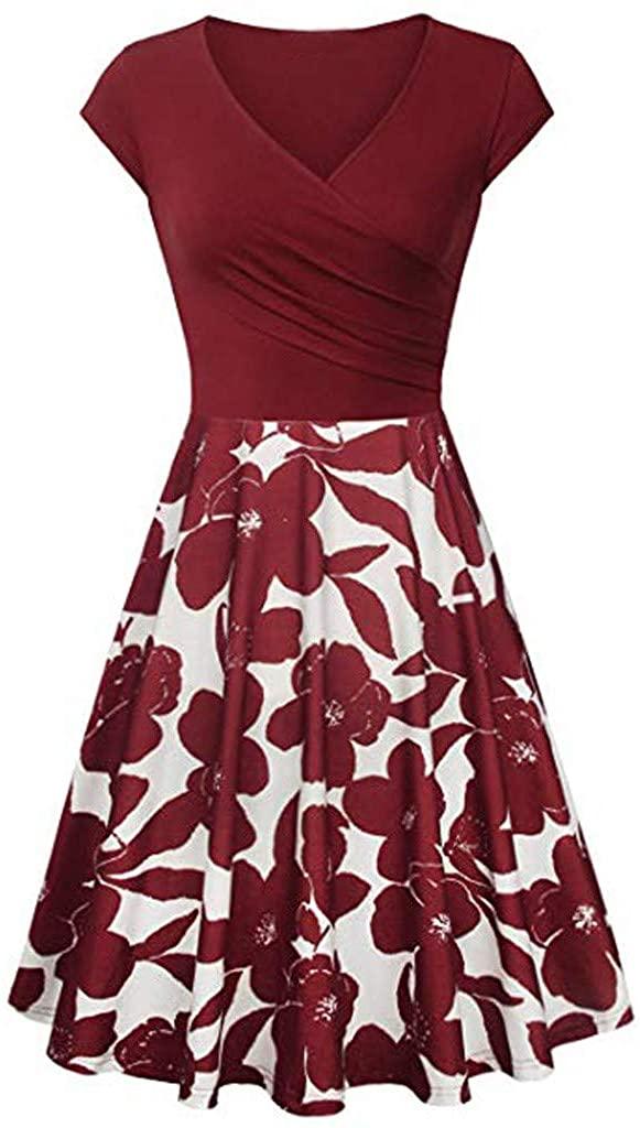 Plus Size Dresses,Women's Short Sleeve Cross V- Neck Dresses Vintage Elegant Flared A-Line Dress