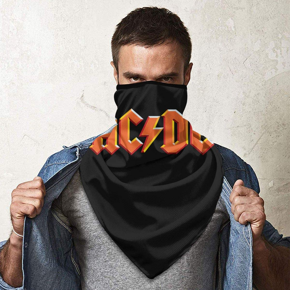 Face Magic Headwear ACDC Band Logo Mens Womens Windproof Sports Headscarf Bandanas Work Out Tube Scarf Neck Gaiter Motorcycle Headbands Helmet for Hiking
