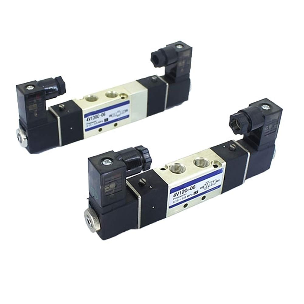 ATO Pneumatic Double Solenoid Valve, 5 Way, DC24V, Rc 1/8 Inch, Pilot-Operated Mode Electric Solenoid Air Valve