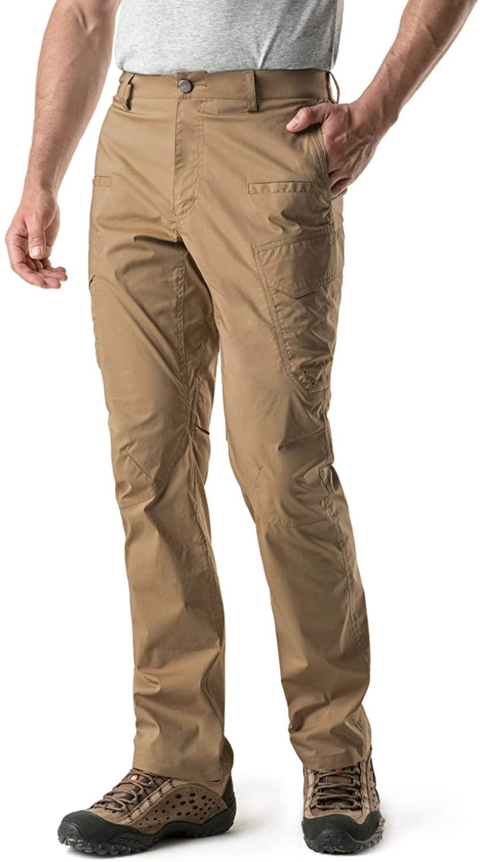 CQR Men's Hiking Pants, Water Repellent Outdoor Pants, Lightweight Stretch Cargo/Straight Work Pants, UPF 50+ Outdoor Apparel