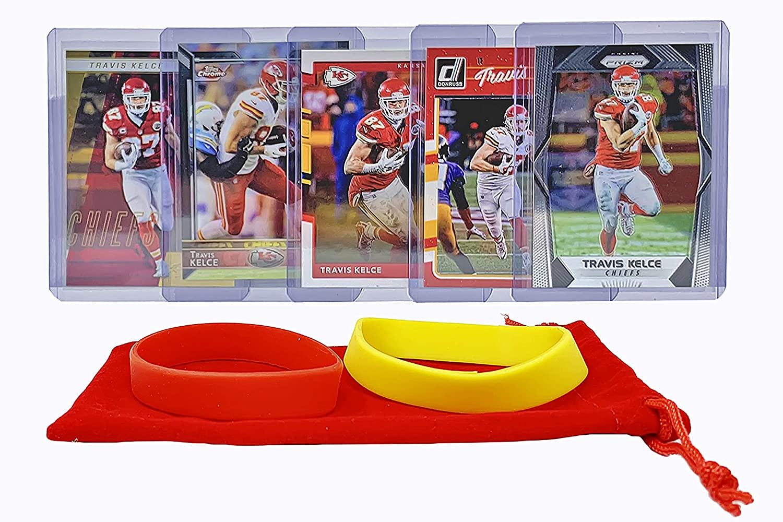 Travis Kelce Football Cards (5) Assorted Bundle - Kansas City Chiefs Trading Card Gift Set