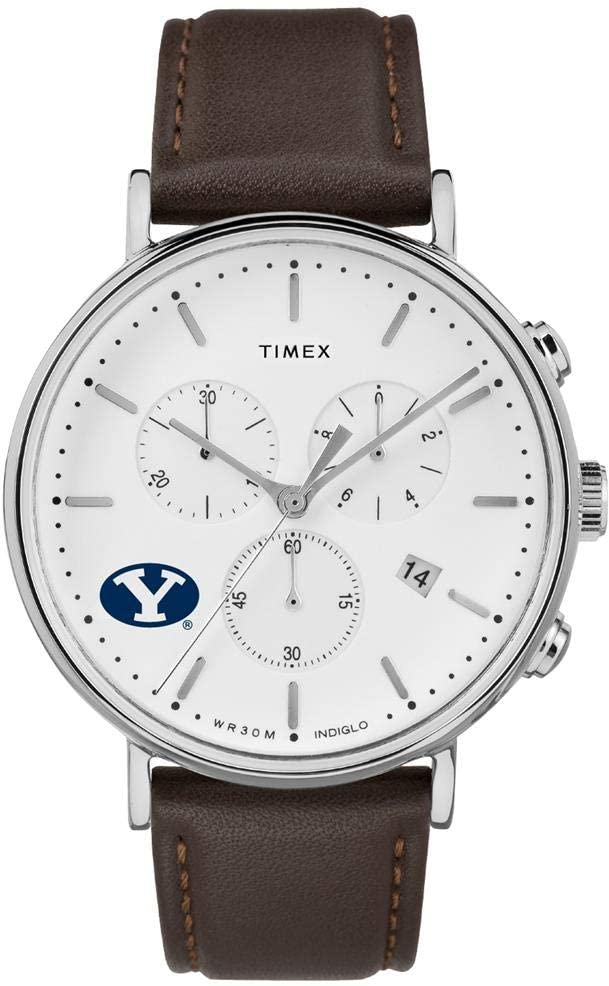 Timex MensBYU Brigham Young University Watch Chronograph Leather Band Watch