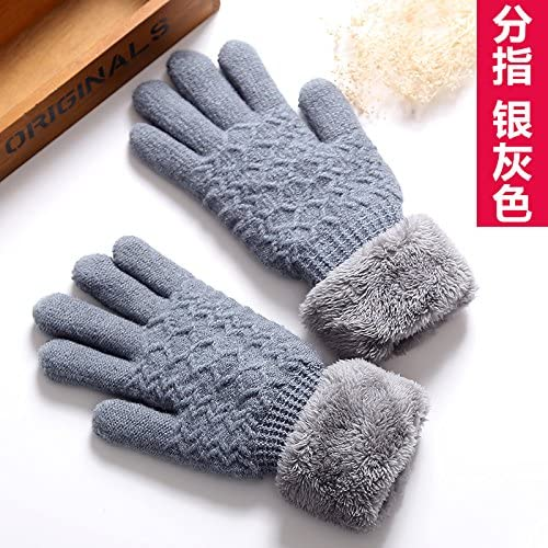 OLQMY-Winter and Autumn mustKorean Glove Female Winter Pure Color Lovely, Even Refers To Gloves Warm, Thickening, Plus Cashmere Lovers Riding, Students Wool Gloves,H