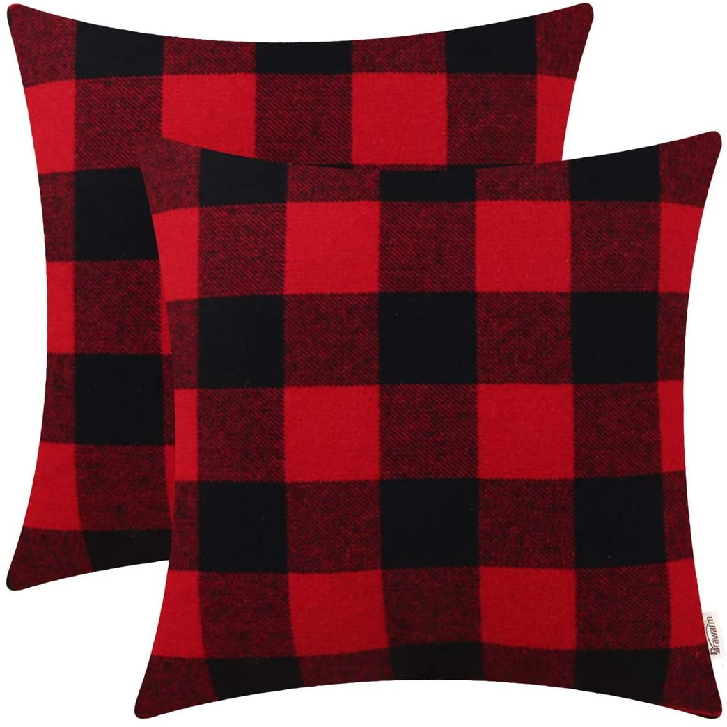 BRAWARM Pack of 2 Comfy Buffalo Checks Plaids Throw Pillow Covers Cases for Couch Bed Sofa Farmhouse Tartan Accent Both Sides Home Decoration 18 X 18 Inches Black & Red