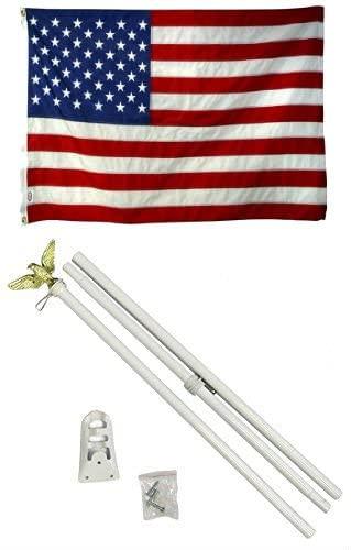 AES 2x3 2'x3' USA American 50 Star Flag White Pole Kit