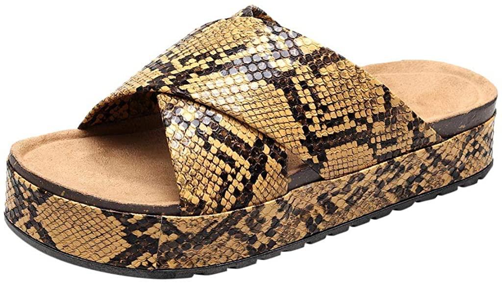 Womens Platform Espadrilles Snake Printed Slide On Open Toe Faux Leather Flat Sandals Summer Sandals