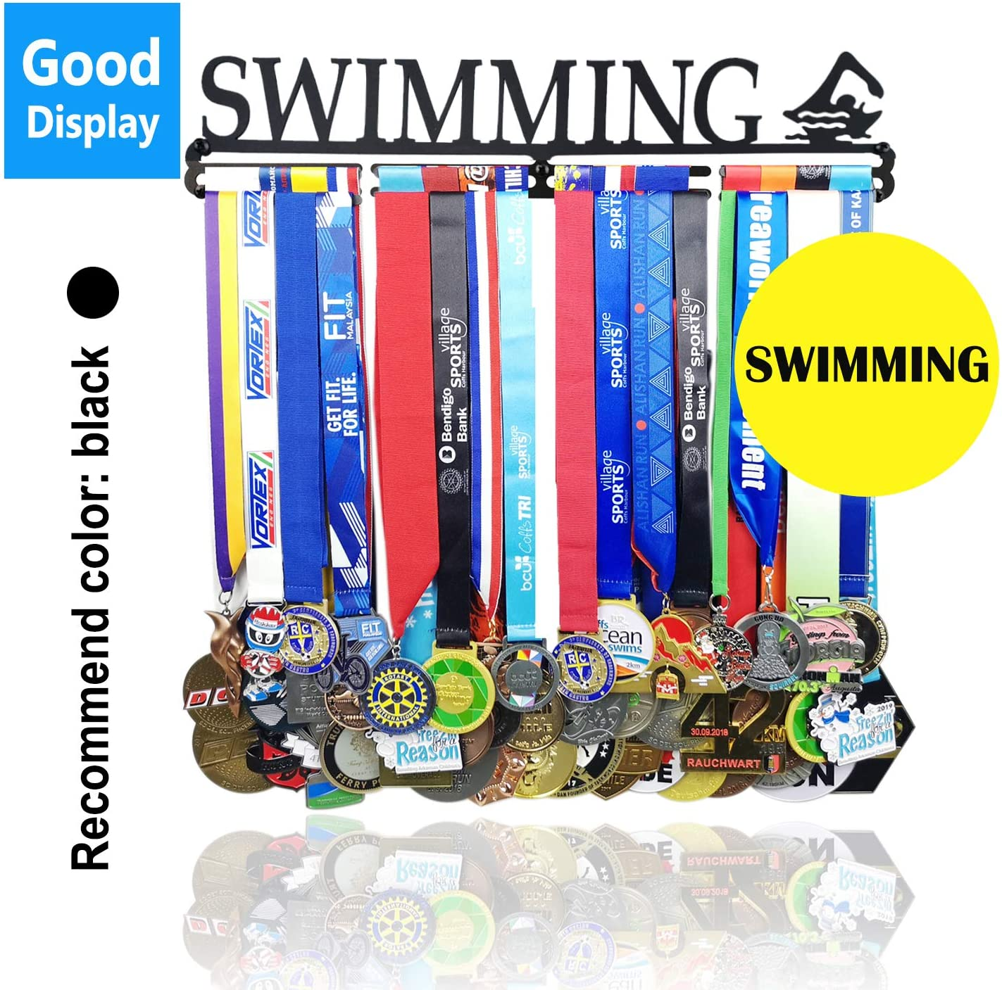 Lapetale Fashion Medal Holder Display Hanger Rack Frame - Sturdy Wall Mount Over 40 Medals Easy to Install