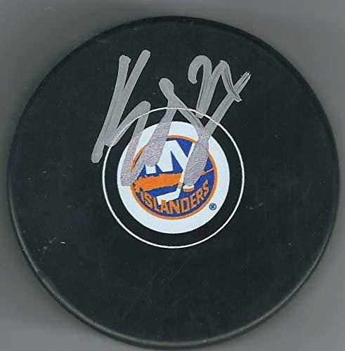 Autographed Kyle Okposo Puck - Autographed NHL Pucks