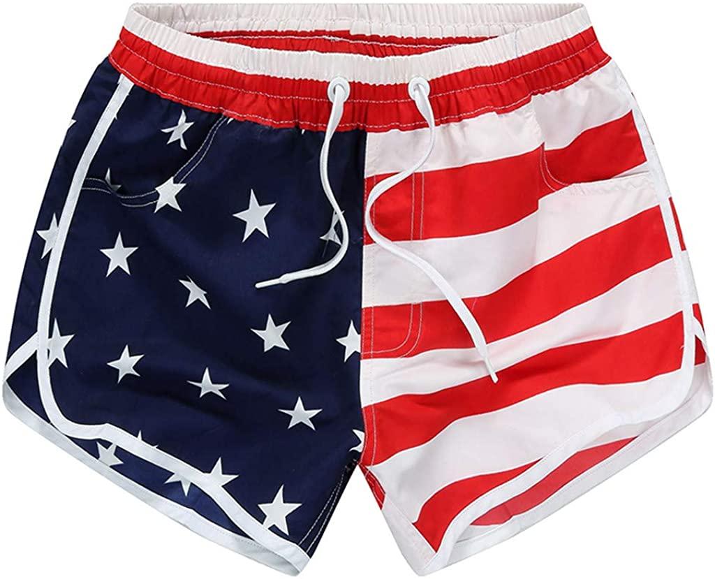 hositor Womens Shorts, Ladies Casual Beach Pants American Flag Stripes Stars Print Shorts Sweatpants