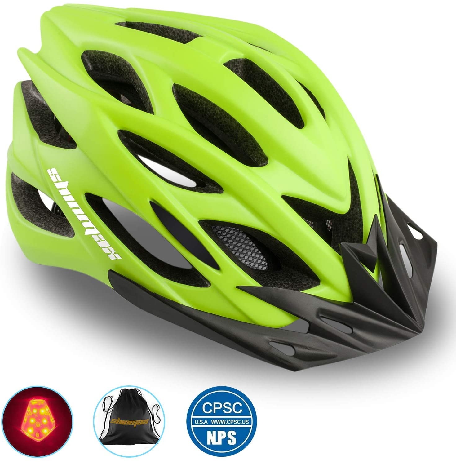 Shinmax Bike Helmet,Bicycle Helmet CPSC/CE Certified Adjustable Size Ultralight Adult Cycling Helmet with Visor&Rear Light &Portable Backpack Specialized Cycling Helmet for Men Women SM-UHD