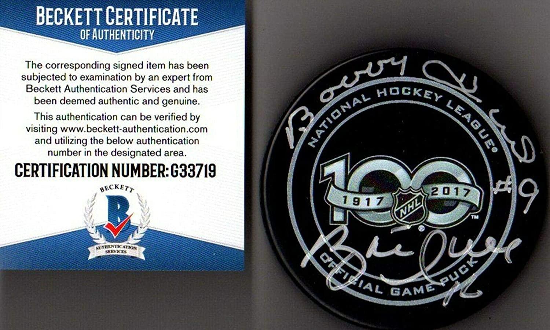 Signed Brett Hull Puck - Beckett bas Bobby & Nhl 100th Year 33719 - Beckett Authentication - Autographed NHL Pucks