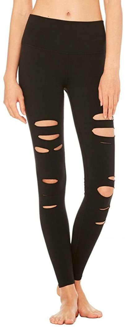 Leezeshaw Women's Cutout Holes Active Workout Capri Yoga Pants Fitted Stretch Tights