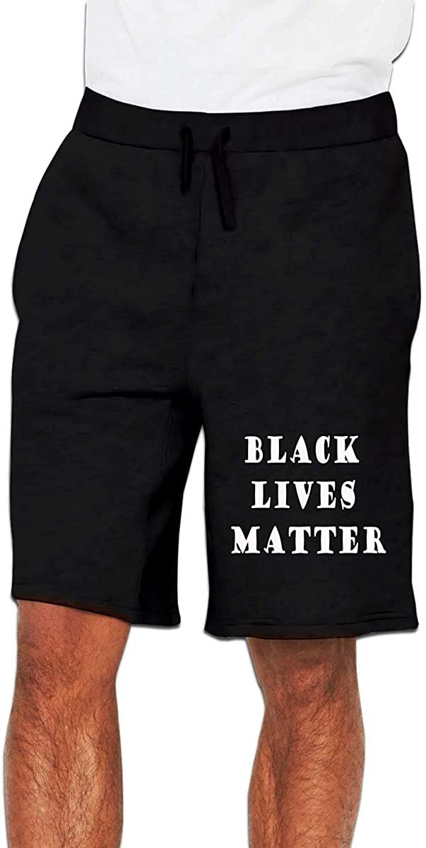 Nideming Black Lives Matter Jogger Designed Short Pants for Mens Black