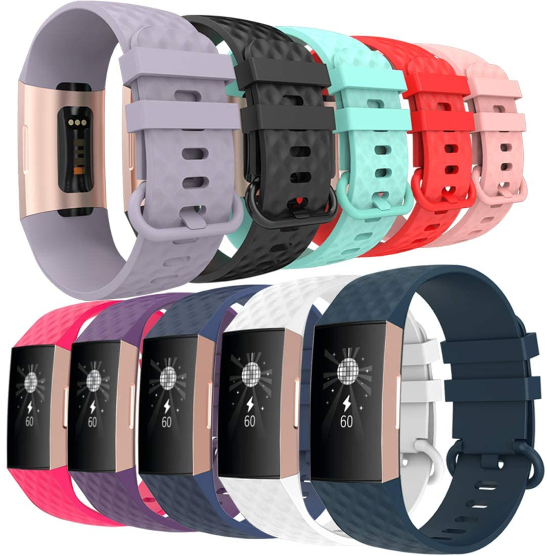 allbingo Replacment Bands Compatible with Fitbit Charge 3 & Charge 3 SE, Women Men Classic & Sport & Special Edition Silicone Adjustable Accessories Wristbands Small Large, 10-Pack
