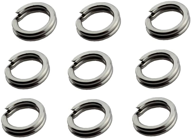 Stainless Steel Split Ring Super Strong Hyper Flat Wire Hook Heavy Duty Tackle Lure Connector Fishing Jigging 100 PCS