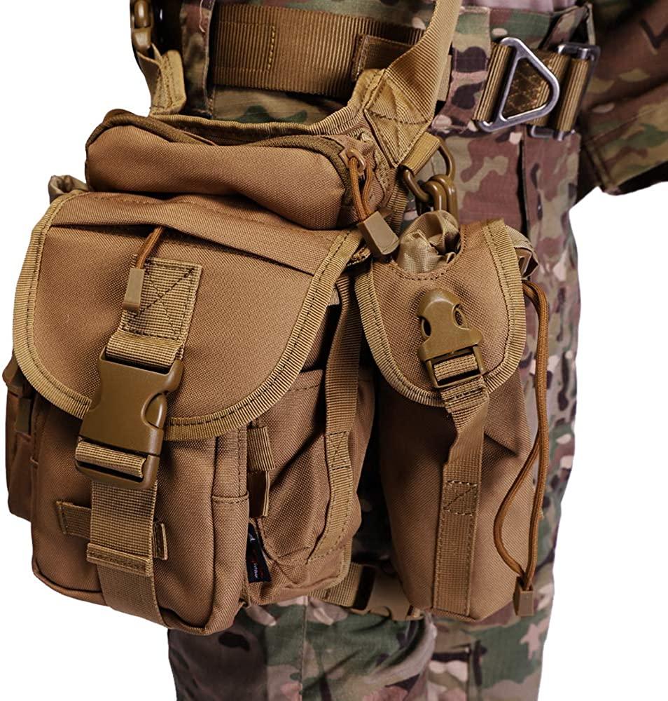 ANTARCTICA Waterproof Military Tactical Drop Leg Pouch Bag Type B Cross Over Leg Rig Outdoor Bike Cycling Hiking Thigh Bag
