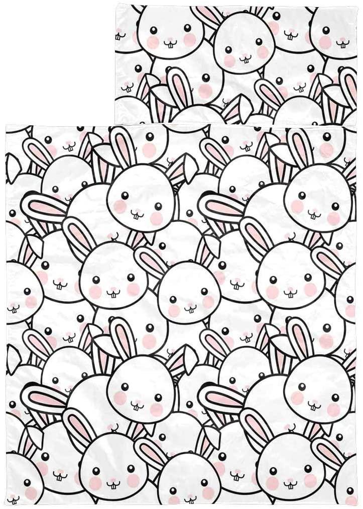 InterestPrint Lightweight Soft Kids Sleeping Bag for Hiking Easter Rabbit Cartoon Face