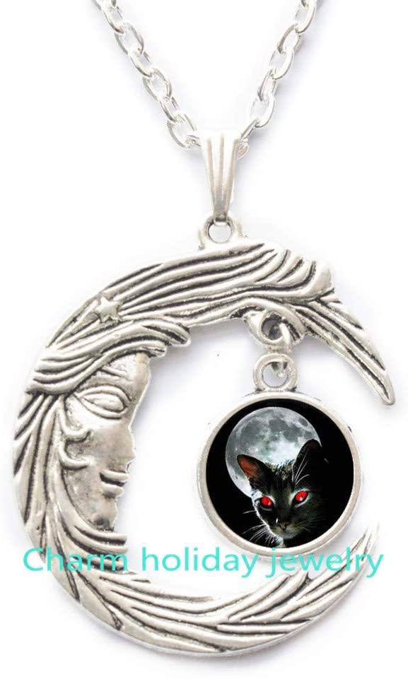 Black Cat Necklace•Crescent Moon•Cat Jewelry•Halloween Jewelry•Gothic Jewelry,Cat Necklace,Cat Jewelry-#73