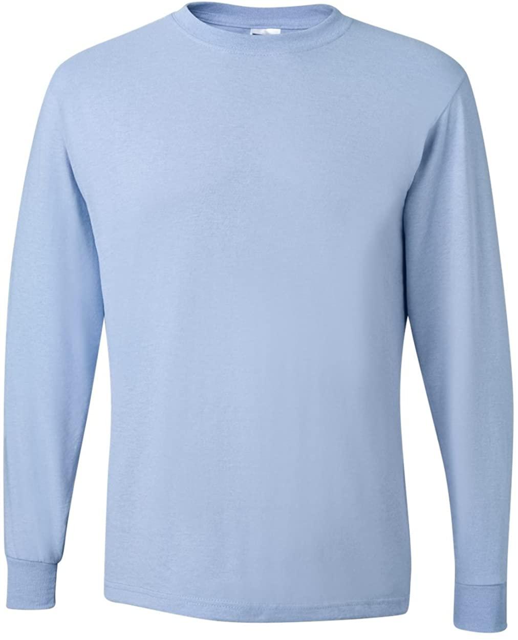 Adult Long-Sleeve Heavyweight Blend T-Shirt (Light Blue) (X-Large)