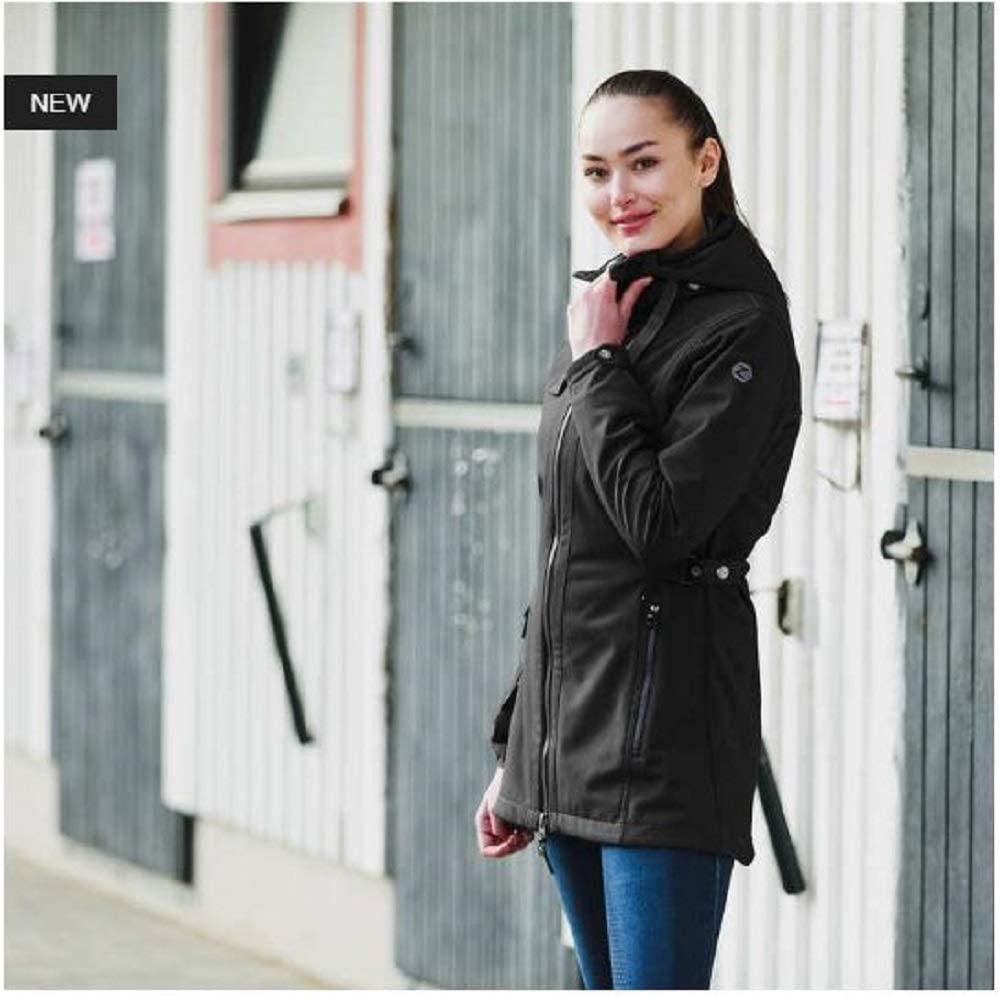 Horze Freya Women's Black Waterproof Fleece Lined Long Soft-Shell Winter Jacket (US XXL/EU 44)