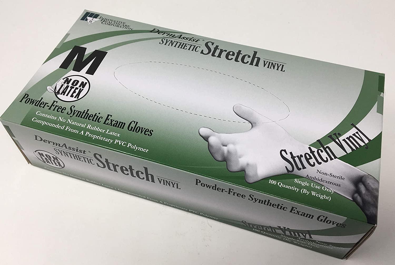 Innovative Dermassist Stretch Vinyl Non-Sterile Smooth Exam Gloves, Medium 7(1/2); - 8 162200
