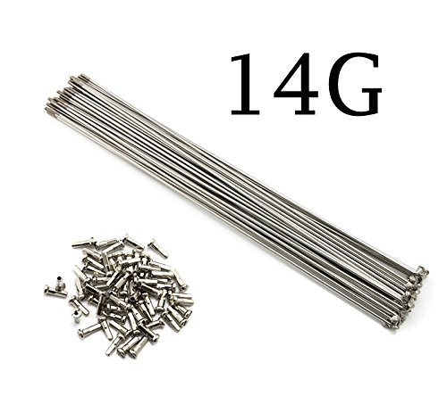 NiceDream68 10PCS 14G/14# 2mm Bike Bicycle Stainless Steel Silver Spoke Spokes with Nipples 88~305 mm (98 mm)
